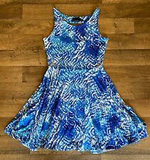 Cynthia Rowley – Sleeveless Flare Ocean Summer Dress - Size Medium - Blue White