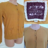 MANTARAY Size 14 Cotton Stretch Mustard Yellow Long Sleeve Cardigan