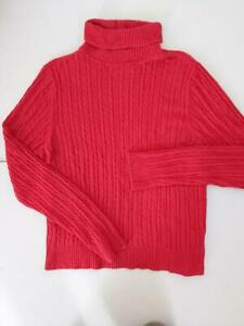 Bianca Nygard Sz Large Red Sweater Turtleneck Cable Knit Pullover Blouse Top