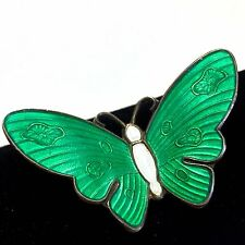 NM Thune Green Guilloche Enamel Butterfly Brooch Pin Sterling Silver Norway 925S