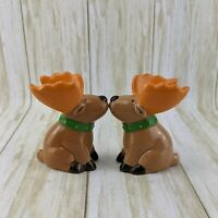 JCPenney Moose Salt & Pepper Shakers Bright Colors Kitsch Funny Christmas Decor