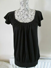 PAPAYA - BLACK SCOOP GATHERED NECK SHORT SLEEVED HIP LENGTH T-SHIRT SIZE 8