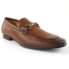 Santino Luciano Men's Cognac Slip On Dress Shoes Silver Buckle Loafers 421