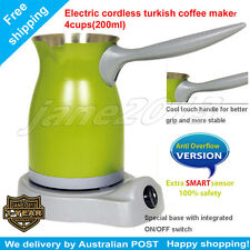 Turkish Greek Electric Coffee Maker+Anti Overflow Function Stainless Steel Green