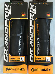 Continental Grand Prix 23mm Road Bike Tyres Black Pair New