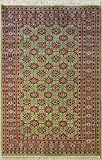 Rugstc 5x8 Bokhara Jaldar Green Area Rug, Hand-Knotted,Geometric with Silk/Wool