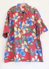 Paradise Island Mens Hawaiian Floral Short Sleeve Aloha Shirt Sz L-NWOT