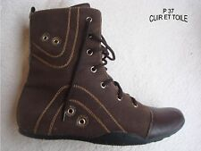 BOTTINE BOOTS RANGERS A LACETS CUIR VERITABLE ET TOILE MARRON  T 37
