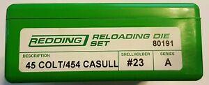 80191 REDDING 45 COLT 454 CASULL 3-DIE SET - BRAND NEW - FREE SHIPPING