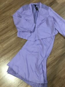 NWT Ashley Stewart Linen Blend Purple  Skirt Suit 2pc (Jacket-Sz 22 Skirt-Sz 24)