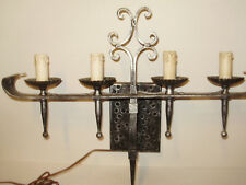 LARGE SPANISH REVIVAL  HAMMER IRON GOTHIC 4 LIGHT ELECTRIC  WALL SCONE