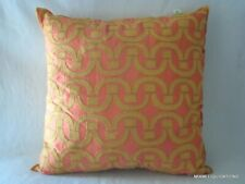 "18x18"" Pillow Company C 18663K-Melo Geometric 100% Silk Tan/salmon Decorative"