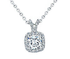 GIA Certified 18k White Gold Cushion Cut Diamond Ladies Pendant 2.65 Carat