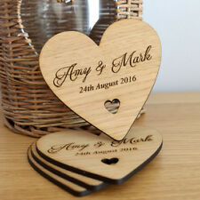 Individual Personalised Heart Shaped Wooden Coasters Any Wording Bespoke Order