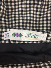 Mairi Macintyre Plaid Black Cream Skirt Pleated Wool Scotland Size 14 K076