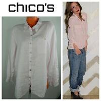 Chico's Design Shirt Top Blouse Tunic Sz 3 (XL 1X) Light Blush Pink 100% Linen E
