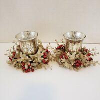 Gold Mercury Glass Tealight Holder Gold & Red Garland glitter Christmas Decor