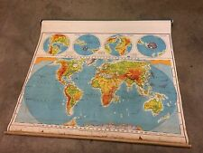 1960 A.J. Nystrom Pictorial Relief Map of the World with merging colors PR98