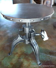 "Set of 2 Industrial bistro crank Round table 22"" antique metal finish very cool"