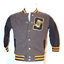 Arizona Jean Letterman Varsity Jacket Boys XS (4-5) Green Yellow Trim Snap Front
