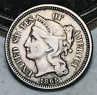 1865 Three Cent Nickel Piece 3C High Grade Civil War Date US Type Coin CC6197