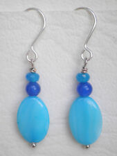Blue oval shell and quartz beads silver tone hooks Drop earrings Approx.4cm