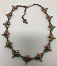 Fabulous Mid Century Modern Vintage Signed Matisse Blue Copper Enamel Necklace.