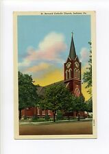 Indiana Pa Pennsylvania vintage postcard, St Bernard Catholic Church