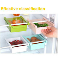 Slide Kitchen Fridge Space Saver Organizer Storage Box Rack Shelf Hoder Case