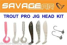 SAVAGE GEAR 6+2 TROUT PRO JIG HEAD KIT CANNIBAL 4PLAY SHAD & GRUB FISHING LURES