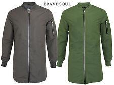 Mens Brave Soul Longline MA1 Bomber Baseball Collar Mac Trench Jacket Coat Zip