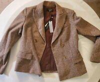Talbots Kate Fit Brown/Tan Tweed Herringbone Blazer size 10P, NWT