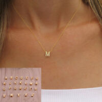 Womens Gold Plated Alloy Alphabet Initial Letter Pendant Chain Necklace A-Z