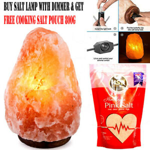 Natural Himalayan Pink Salt Lamp DIMMER Switch Cable With Salt Pouch Free Gift