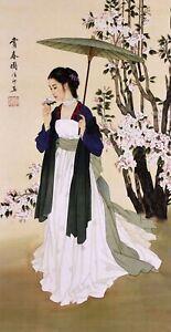 100% HANDPAINTED ORIGINAL ART CHINESE FIGURE WATERCOLOR PAINTING-Beauty&Flowers