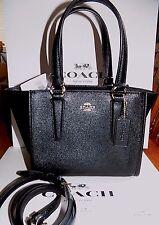 NWT Coach Mini Crosby Leather Carryall Crossbody Bag BLACK F11925 $295 BEAUTIFUL