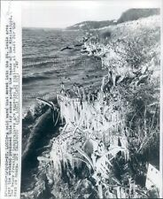 1960 Icicles Along Bank of Mississippi River St Louis Missouri Press Photo