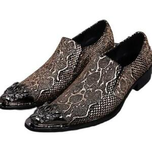 Men Classics Chic Solid Color Metal Pointy Toe Embroidery Leather Loafer Shoes