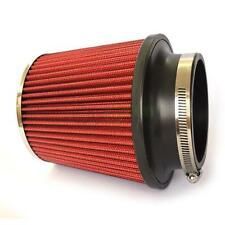 """3"""" Inch New Inlet Short Ram Cold Air Intake Round Cone Air Filter Chrome/Red"""
