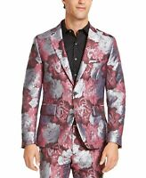 INC Mens Blazer Gray Pink Size Small S Rose Floral Jacquard Slim Fit $149 187