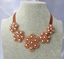 perle perline Collana con Nastro ribbon cristalli da donna col cipria