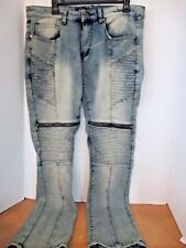 ROK~Vintage Blue Cloud SLIM FIT JEANS with ZIPPERS~Men's 34x32~NWT