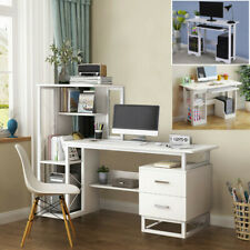 Home Office Corner Computer Desk Workstation Study PC Table Shelf W/Drawer Shelf