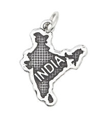 STERLING SILVER TEXTURED COUNTRY MAP OF INDIA TRAVEL CHARM OR PENDANT