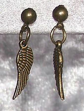 1 Pair Studs Angel Wing Colour Antique Bronze Earring Ear Jewelry
