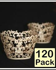 120 x Ivory Pearlised Damask Lace Wedding Cupcake Wrapper Baking Cake Cups Wraps