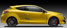 Renault Sport accidentada Bandera 450 mm de ancho Par De Pegatinas Metálico en gris oscuro