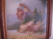 """Original Troy Denton Chief Over-looking  Camp Oil on Canvas Painting Signed 24"""""""