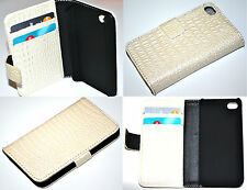 Croc Style White Flip Leather Wallet Case Cover for iPhone 4 4S Hold Credit Card
