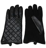 Ralph Lauren Black Quilted Leather Touch Gloves LP0026 Womens Large Fast Ship